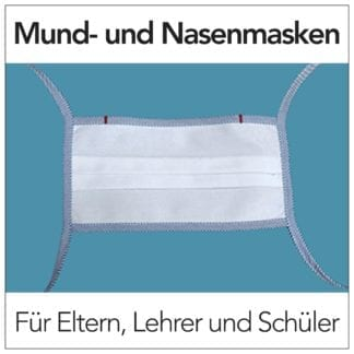 Mund- und Nasenmaske mit blauer Kordel für Eltern, Schüler und Lehrer