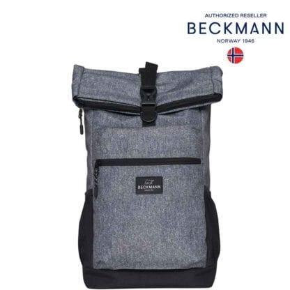 Beckmann Rucksack Sport Light Rolltop Grey Melange 20 Liter Seite Modell-2021 Set bei offiziellem Onlineshop norway-schulranzenshop.de