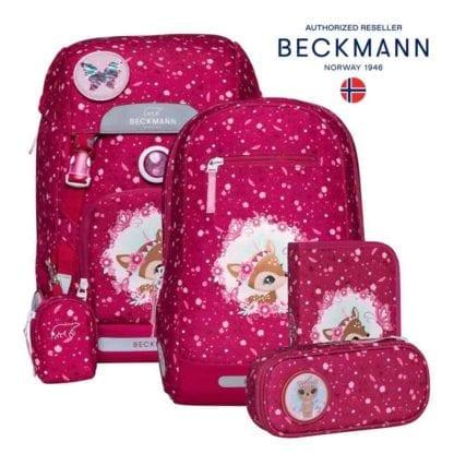 Beckmann Schulranzen Classic Deer red Set 6-teilig Modell-2021 Set bei offiziellem Onlineshop norway-schulranzenshop.de